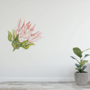 Protea flower wall decal as floral wall art.