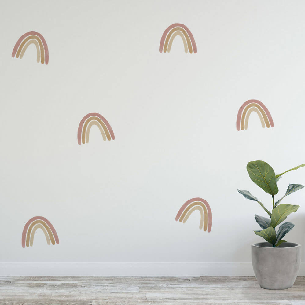 Medium dusty rainbow wall decals as home decor.