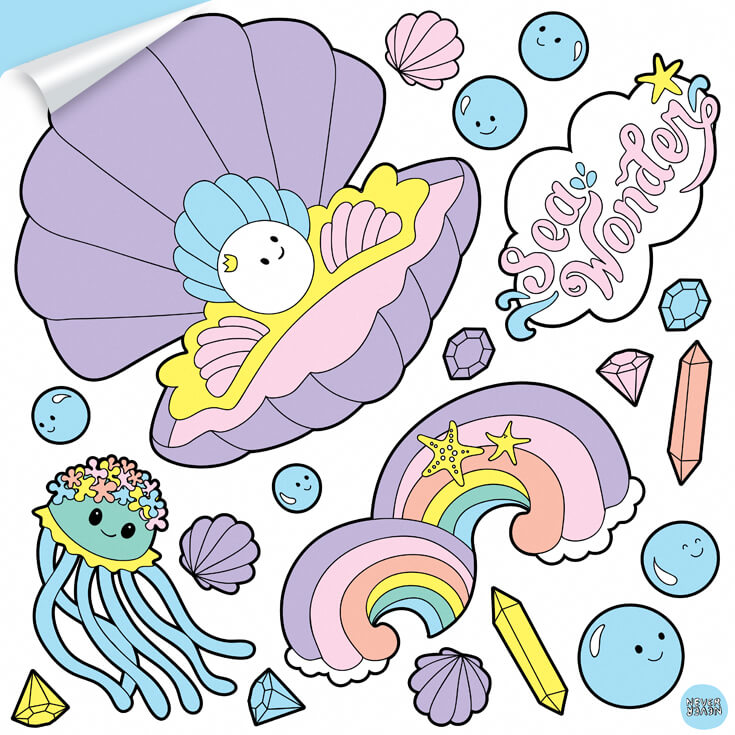 A sheet of sea creatures wall decals featuring baby clam, rainbows and squid.