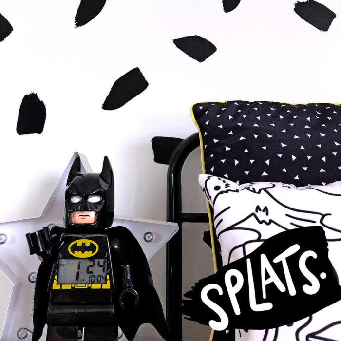 A close up of monochrome wall decals in a boy's bedroom.