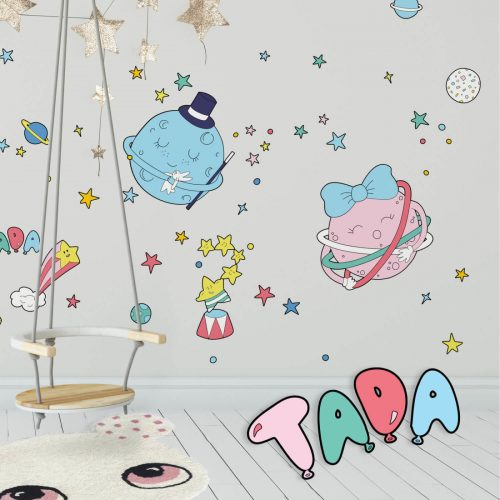 A fun kids room with Circus Space inspired wall decals.