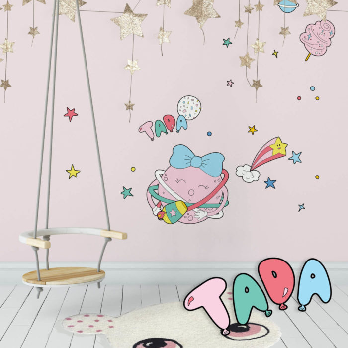 Circus Space inspired wall decals featuring a girl planet dancing with hula hoops in a kid's room.