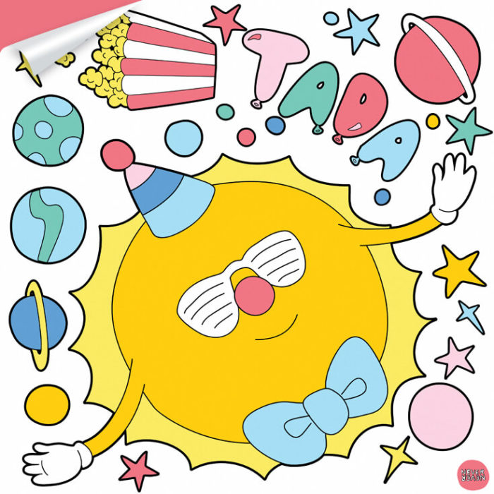 A sheet of Circus Space inspired wall decals featuring a juggling sun.