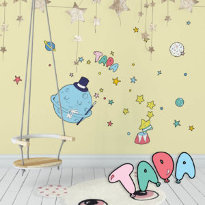 Circus Space inspired wall decals featuring moon and stars in a playroom.