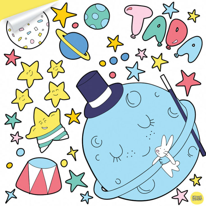 A sheet of Circus Space inspired wall decals featuring moon and stars.