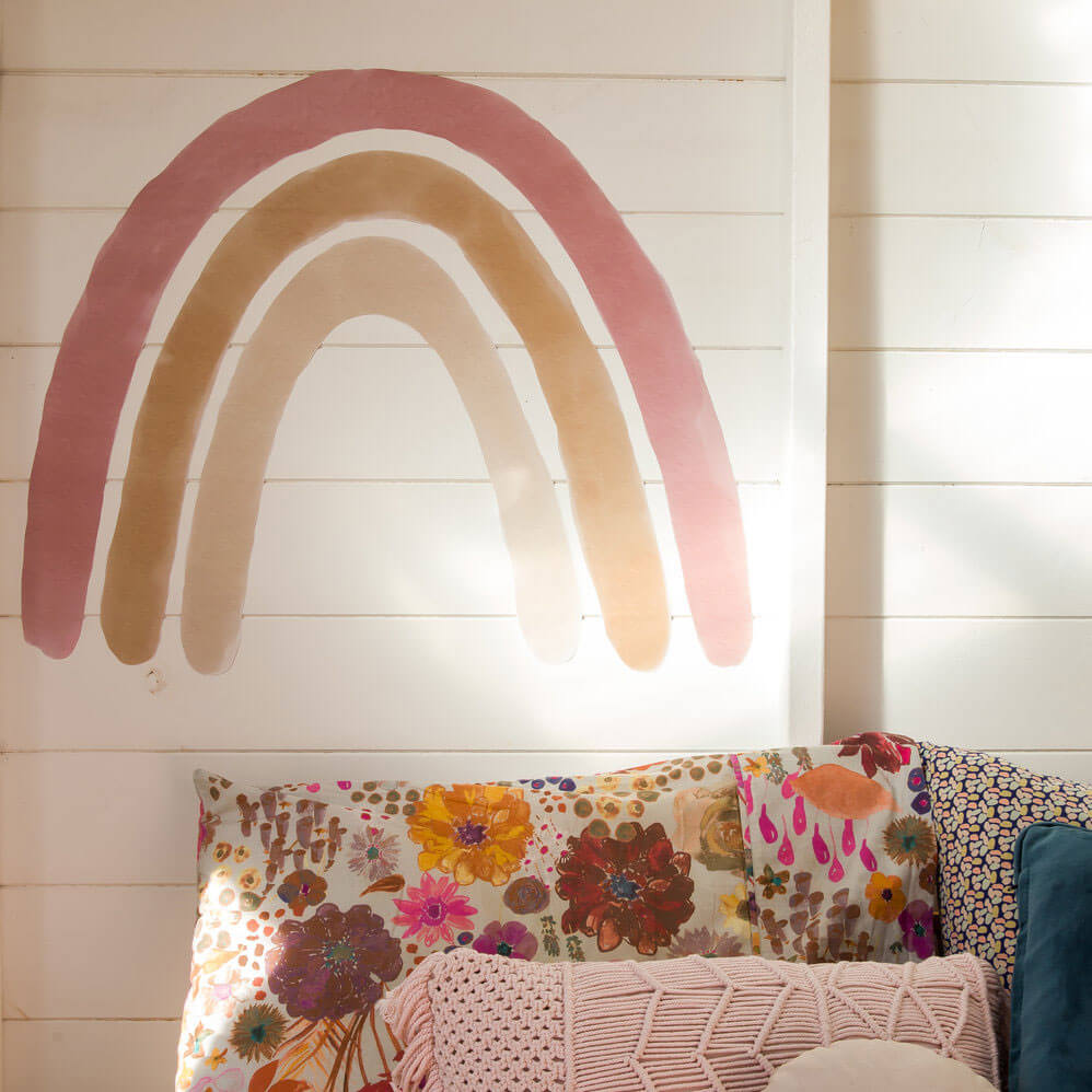 Large dusty rainbow wall decal styled by Team Tonkin.