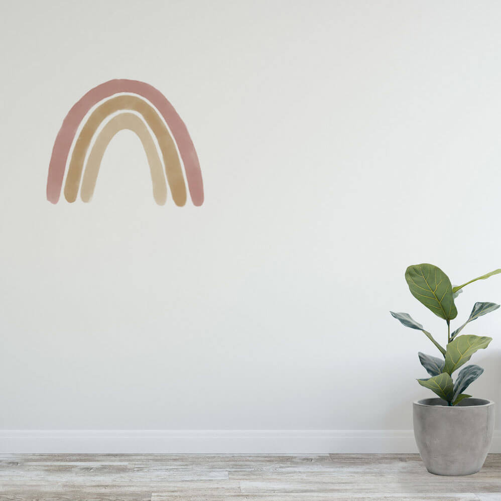Large dusty rainbow wall decal as home decor.