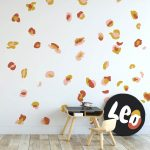 Leopard Print wall decals in mustard, blush and rust.