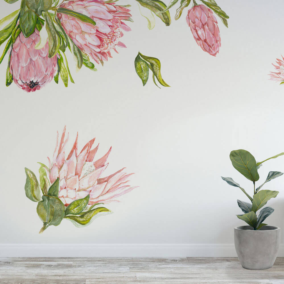 Floral wall decals featuring a collection of proteas.
