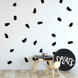 Monochrome wall decal Splats in a little boy's bedroom.