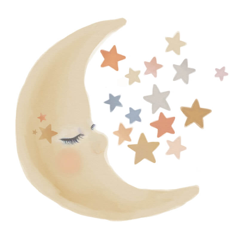 Moon and stars watercolour wall decal collection sheet.