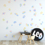 Leopard Print wall decals in pastel colours.