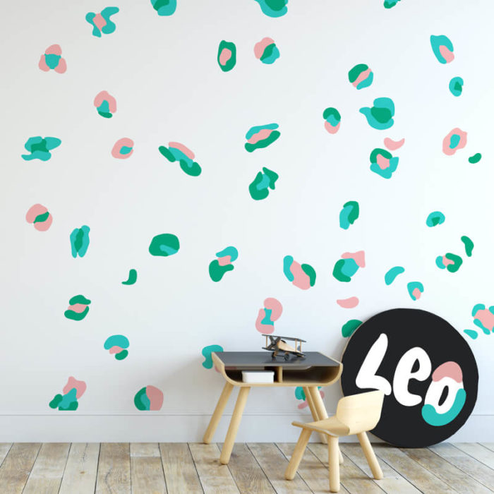 Leopard Print wall decals in pink and green.