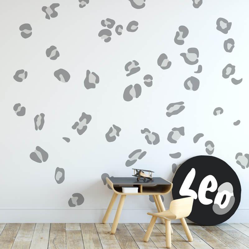 Leopard Print wall decals in grey colour tones.