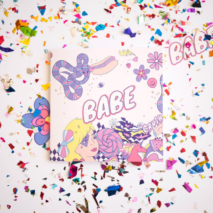Babe, a unique greeting card featuring a unicorn.