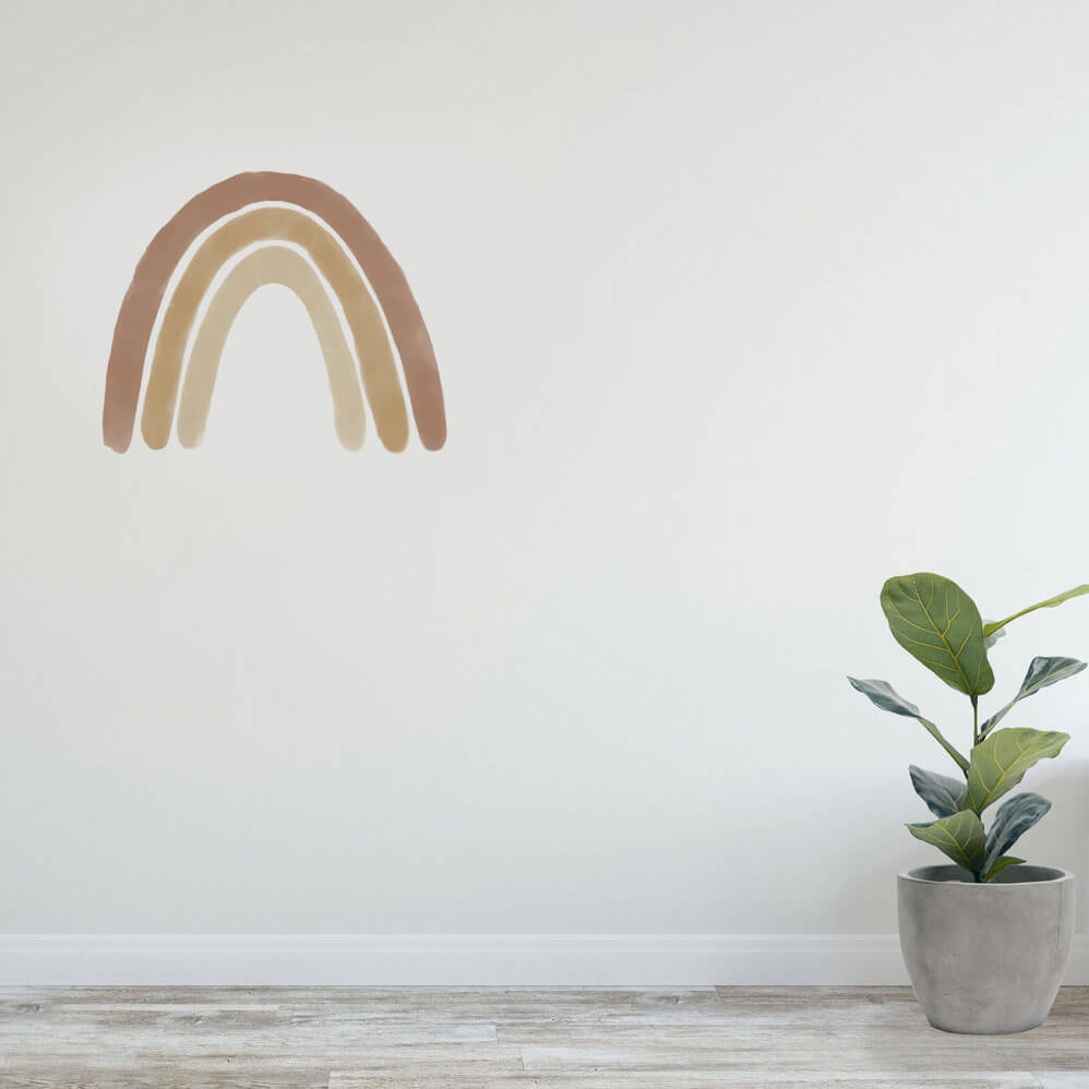 Large tan rainbow wall decal as wall art for the home.