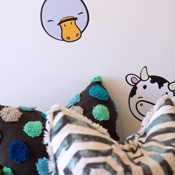 Platypus and cow wall decal detail