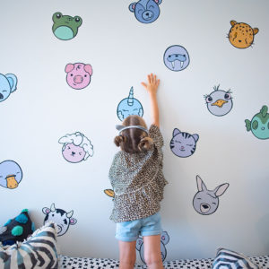 Kawaii inspired animal heads as wall decals for playroom decor.