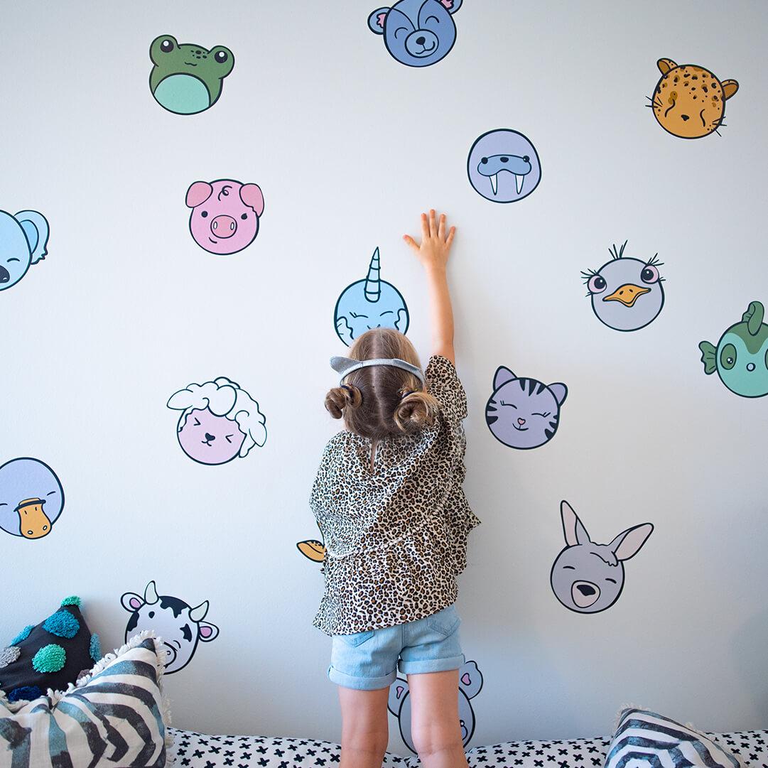 Kawaii inspired animal heads as wall decals for playroom decor.