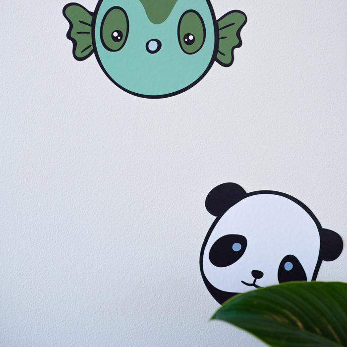 Panda and fish animal wall decals.
