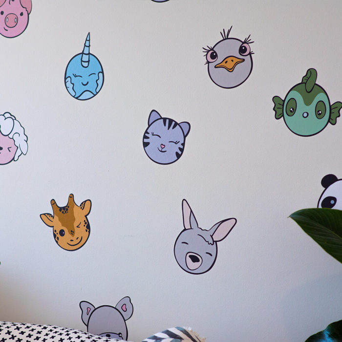 Kawaii inspired animal heads including cat, giraffe, fish, kangaroo and emu.