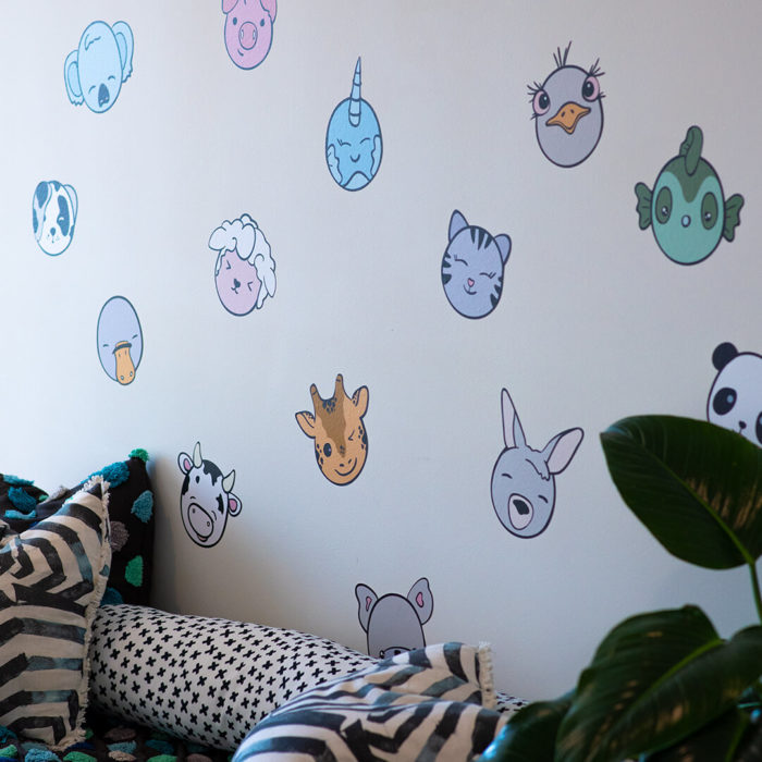 Kawaii inspired animal heads as children's wall decor.