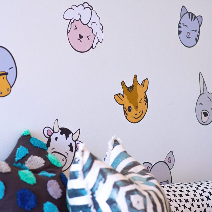 Animal head wall decals as playroom wall decor.