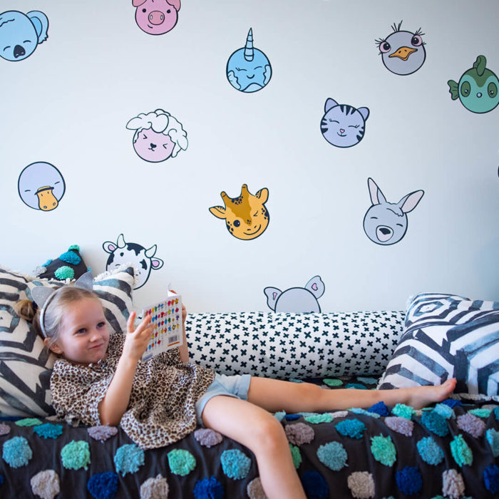 Kawaii inspired animals that are removable wall decals.