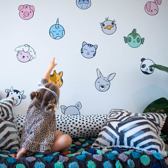 Kawaii inspired wall decals of animals.