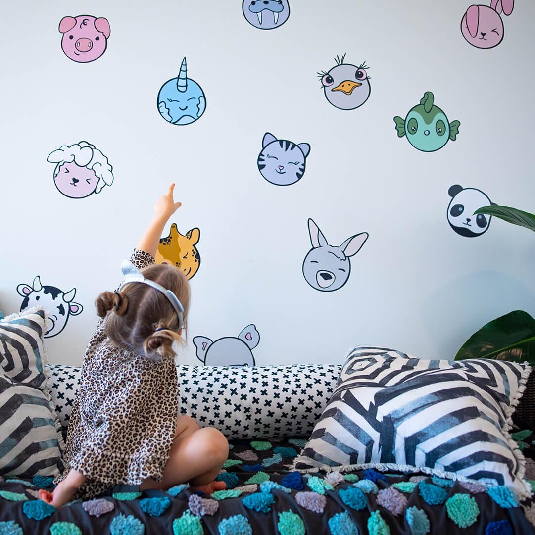 Kawaii inspired wall decals of animals.