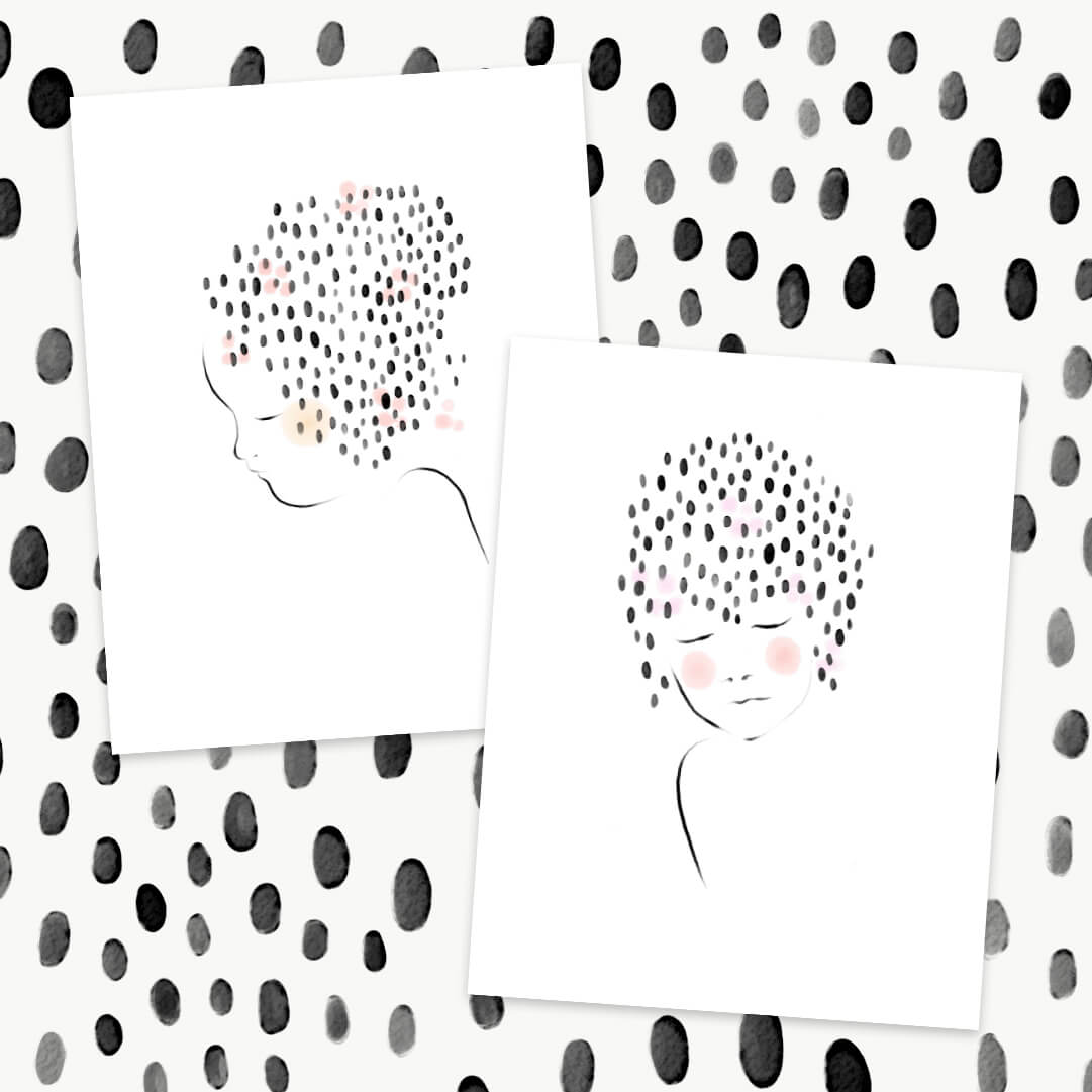 Doll face watercolour paper prints for home decor.