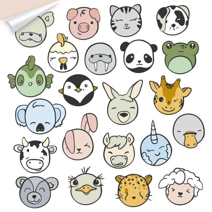 Kawaii inspired animal heads for wall decor. Including panda, penguin, narwal, koala, cow, dog, cat, emu and leopard.