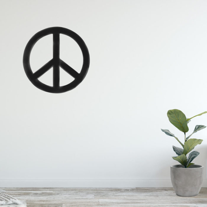 Gender neutral monochrome peace symbol wall decal.